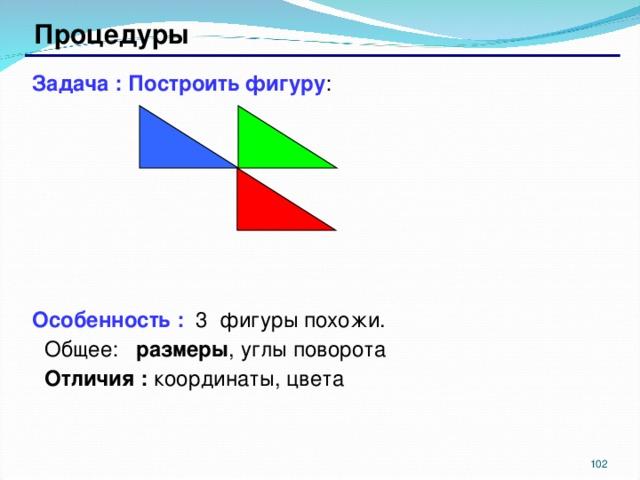 Процедуры Задача : Построить фигуру : Особенность : 3 фигуры похожи. Общее: размеры , углы поворота Отличия : координаты, цвета  Общее: размеры , углы поворота Отличия : координаты, цвета  98 98