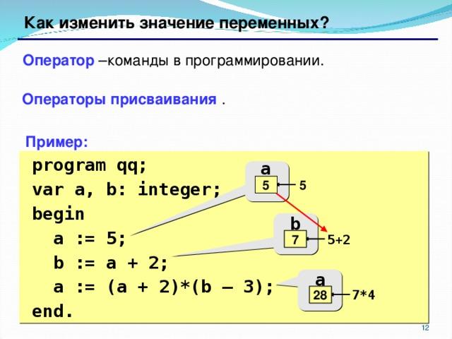 Как изменить значение переменных? Оператор –команды в программировании. Операторы присваивания . Пример:  program qq;  var a, b: integer;  begin   a := 5;   b := a + 2;   a := (a + 2)*(b – 3);  end. a 5 ? 5 b 7 5+2 ? a 5 7*4 28 6 6