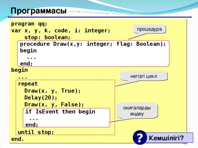 Программасы program qq; var x, y, k, code, i: integer;   stop: boolean;    begin  ...  repeat   Draw(x, y, True);  Delay(20);  Draw(x, y, False);     until stop; end. процедура procedure Draw(x,y: integer; flag: Boolean); begin  ... end; негізгі цикл оқиғаларды өңдеу if IsEvent then begin  ... end; ?  Кемшілігі ? 117 127