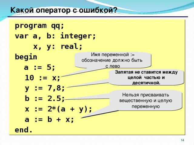 Какой оператор с ошибкой?  program qq;  var a, b: integer;    x, y: real;   begin   a := 5;  10 := x;  y := 7 , 8;  b := 2.5;  x := 2*(a + y);   a := b + x;  end. Имя переменной := обозначение должно быть с лево Запятая не ставится между целой частью и десятичной. Нельзя присваивать вещественную и целую переменную 6 6
