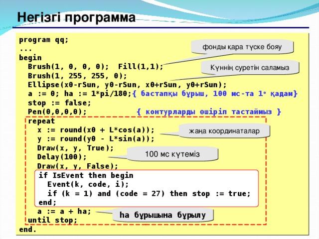 Негізгі программа program qq; ... begin  Brush(1, 0, 0, 0);  Fill(1,1);  Brush(1, 255, 255, 0);  Ellipse(x0-rSun, y0-rSun, x0+rSun, y0+rSun);  a := 0; ha := 1*pi/180; { бастапқы бұрыш , 100 мс-та 1 o  қадам }  stop := false;  Pen(0,0,0,0);  { контурларды өшіріп тастаймыз }   repeat   x := round(x0 + L*cos(a));   y := round(y0 - L*sin(a));   Draw(x, y, True);   Delay(100);   Draw(x, y, False);        a := a + ha;  until stop; end. фонды қара түске бояу Күннің суретін саламыз жаңа координаталар 100 мс күтеміз if IsEvent then begin   Event(k, code, i);  if (k = 1) and (code = 27) then stop := true; end; ha бұрышына бұрылу 129 129
