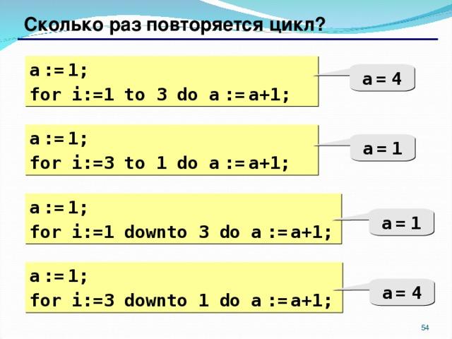 Сколько раз повторяется цикл? a  :=  1; for i:= 1  to 3 do  a  :=  a+1; a  =  4 a  :=  1; for i:=3 to 1 do  a  :=  a+1; a  =  1 a  :=  1; for i:= 1 down to 3 do  a  :=  a+1; a  =  1 a  :=  1; for i:= 3 down to 1 do  a  :=  a+1; a  =  4