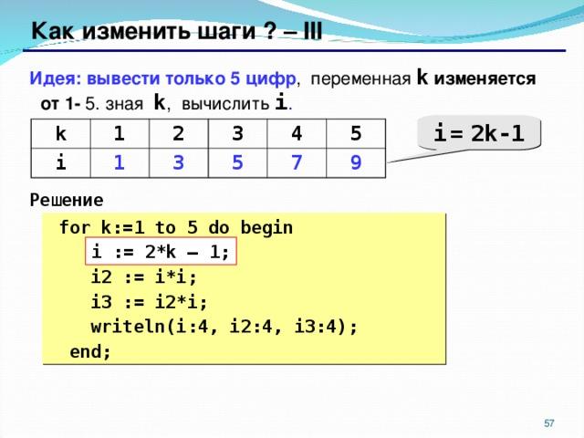 Как изменить шаги ? – III Идея: вывести только 5 цифр , переменная k изменяется от 1- 5. зная  k , вычислить i .  Решение i  =  2k-1 k 1 i 1 2 3 3 5 4 5 7 9  for k:= 1 to 5 do begin  ???  i2 := i*i;  i3 := i2*i;  writeln(i:4, i2:4, i3:4);  end; i := 2*k – 1;