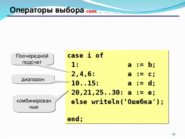Операторы выбора case case i  of  1: a := b;  2,4 ,6 : a := c;  10..15: a := d;  20,21,25..30: a := e;  else writeln(' Ошибка ');  end; Поочередной подсчет диапазон комбинированные