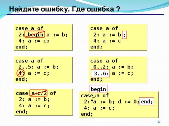 Найдите ошибку. Где ошибка ? case  a  of  2: begin a := b;  4: a := c; end; case  a  of  2: a := b  4: a := c end; ; case  a  of  2..5: a := b;  4: a := c; end; case  a  of  0..2: a := b;  6..3: a := c; end; 3..6: begin case  a+c/2  of  2: a := b;  4: a := c; end; case  a  of  2: a := b; d := 0;  4: a := c; end; end;