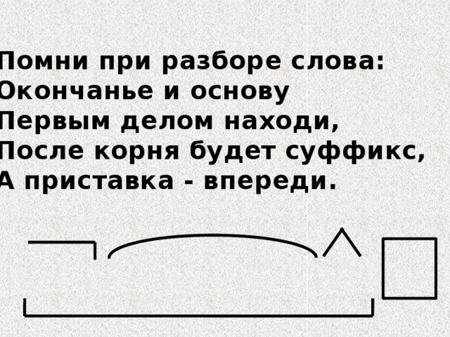 Помни при разборе слова: Окончанье и основу Первым делом находи, После корня будет суффикс, А приставка - впереди.