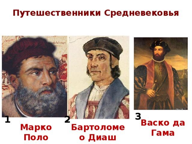 Путешественники Средневековья 3 2 1 Васко да Гама Марко Поло Бартоломео Диаш