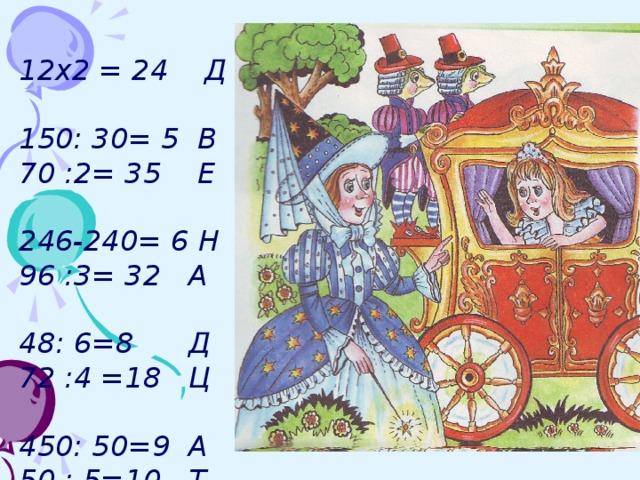 12х2 = 24 Д 150: 30= 5 В 70 :2= 35 Е 246-240= 6 Н 96 :3= 32 А 48: 6=8 Д 72 :4 =18 Ц 450: 50=9 А 50 : 5=10 Т 16: 8=2 Ь