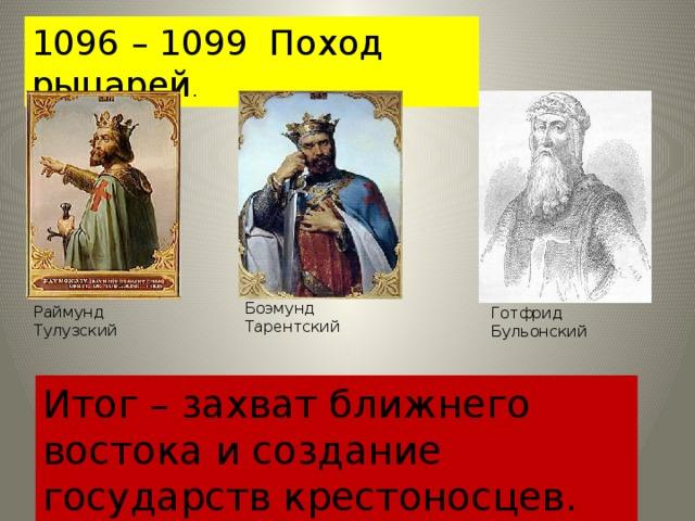1096 – 1099 Поход рыцарей . Боэмунд Тарентский Раймунд Тулузский Готфрид Бульонский Итог – захват ближнего востока и создание государств крестоносцев.