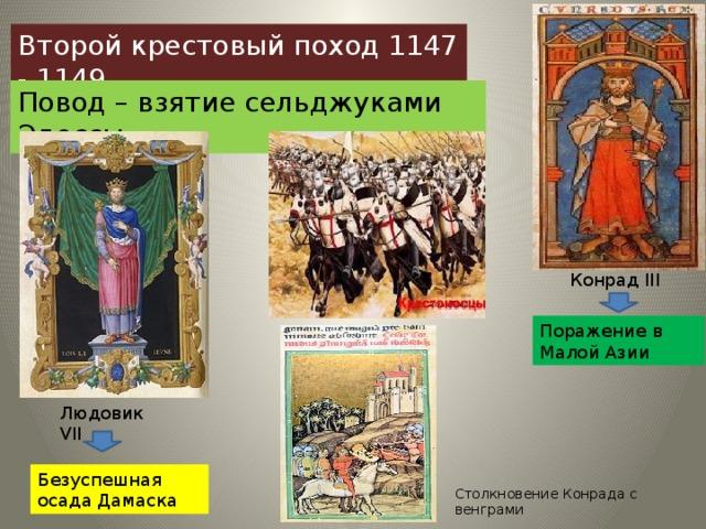 Второй крестовый поход 1147 - 1149 Повод – взятие сельджуками Эдессы Конрад ΙΙΙ Поражение в Малой Азии Людовик VΙΙ Безуспешная осада Дамаска Столкновение Конрада с венграми