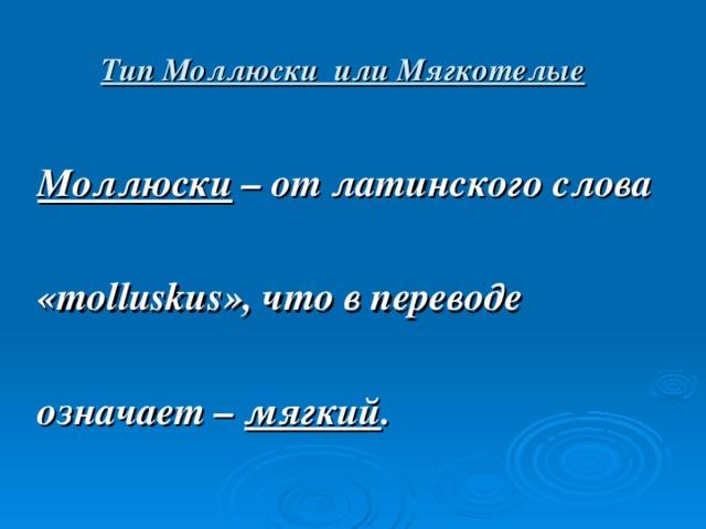 Тип Моллюски или Мягкотелые Моллюски – от латинского слова  « molluskus », что в переводе  означает – мягкий .