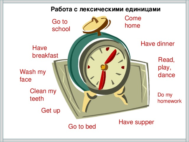 Работа с лексическими единицами Come home Go to school Have dinner Have breakfast Read, play, dance Wash my face Clean my teeth Do my homework Get up Have supper Go to bed