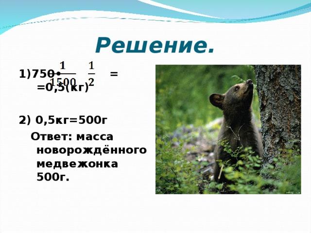 Решение. 1)750• = =0,5(кг)  2) 0,5кг=500г  Ответ: масса новорождённого медвежонка 500г.