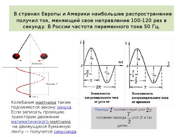 В странах Европы и Америки наибольшее распространение получил ток, меняющий свое направление 100-120 раз в секунду. В России частота переменного тока 50 Гц. Колебания маятника также подчиняются закону синуса .  Если записать проекцию траектории движения математического маятника на движущуюся бумажную ленту— получится синусоида .