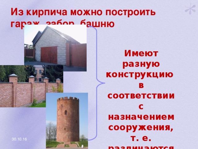 Из кирпича можно построить гараж, забор, башню Имеют разную конструкцию в соответствии с назначением сооружения, т. е. различаются структурой 30.10.16
