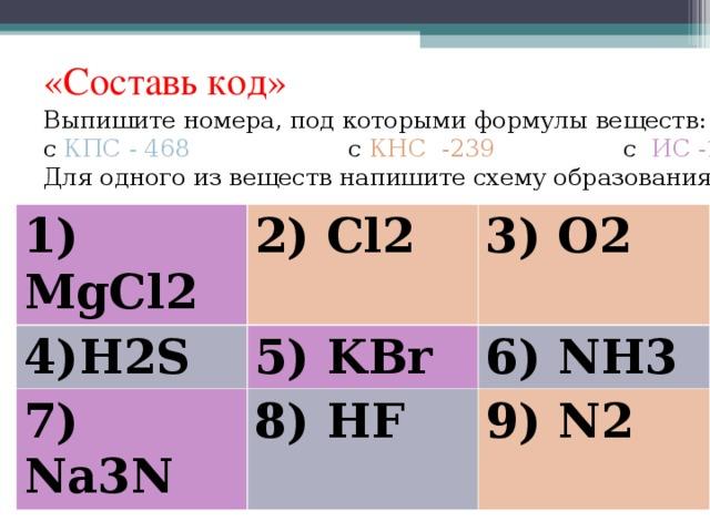 «Составь код» Выпишите номера, под которыми формулы веществ: с КПС - 468  с КНС -239 с ИС -157 Для одного из веществ напишите схему образования связи 1) MgCl2 2) Cl2 4) H2S 3) O2 5) KBr 7) Na3N 8) HF 6) NH3 9) N2