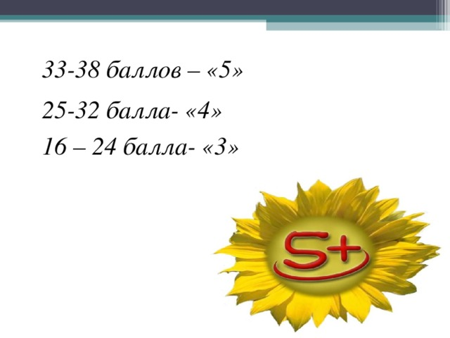33-38 баллов – «5» 25-32 балла- «4» 16 – 24 балла- «3»