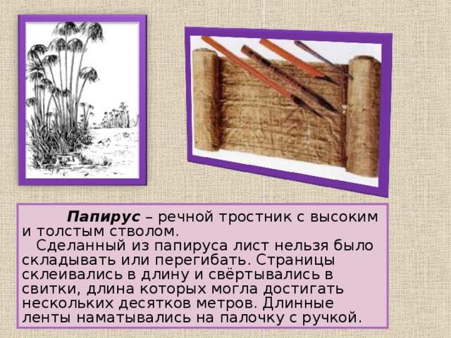 Папирус – речной тростник с высоким и толстым стволом.  Сделанный из папируса лист нельзя было складывать или перегибать. Страницы склеивались в длину и свёртывались в свитки, длина которых могла достигать нескольких десятков метров. Длинные ленты наматывались на палочку с ручкой.