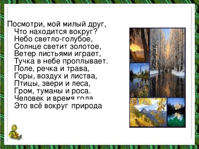 Посмотри, мой милый друг,  Что находится вокруг?  Небо светло-голубое,  Солнце светит золотое,  Ветер листьями играет,  Тучка в небе проплывает.  Поле, речка и трава,  Горы, воздух и листва,  Птицы, звери и леса,  Гром, туманы и роса.  Человек и время года.  Это всё вокруг … природа