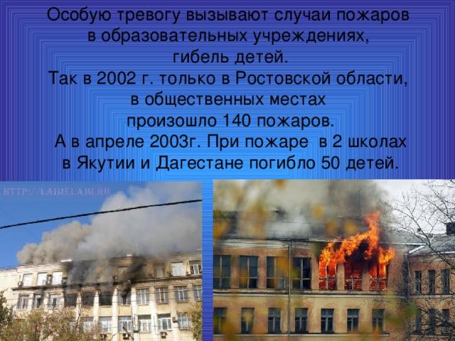Особую тревогу вызывают случаи пожаров в образовательных учреждениях, гибель детей. Так в 2002 г. только в Ростовской области, в общественных местах произошло 140 пожаров.  А в апреле 2003г. При пожаре в 2 школах в Якутии и Дагестане погибло 50 детей.