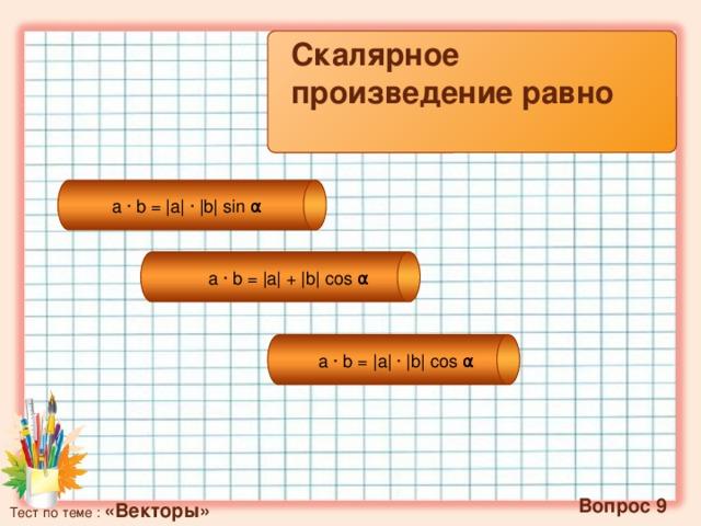 Скалярное произведение равно a·b= |a| ∙ |b|sin α a·b= |a| + |b|cos α a·b= |a| · |b|cos α   Вопрос 9 Тест по теме : «Векторы»