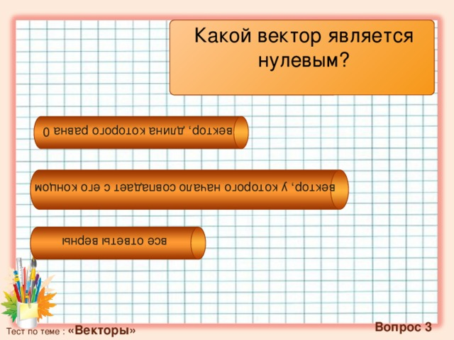 вектор, у которого начало совпадает с его концом вектор, длина которого равна 0 все ответы верны Какой вектор является нулевым?  Вопрос 3 Тест по теме : «Векторы»