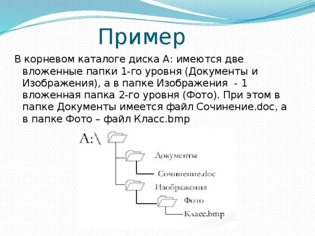 Пример В корневом каталоге диска А: имеются две вложенные папки 1-го уровня (Документы и Изображения), а в папке Изображения - 1 вложенная папка 2-го уровня (Фото). При этом в папке Документы имеется файл Сочинение.doc, а в папке Фото – файл Класс.bmp