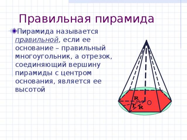 Правильная пирамида Пирамида называется правильной , если ее основание – правильный многоугольник, а отрезок, соединяющий вершину пирамиды с центром основания, является ее высотой О