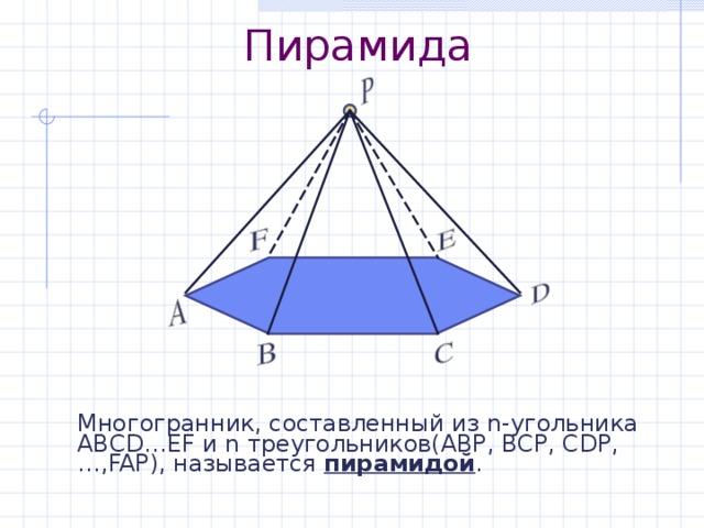 Пирамида Многогранник, составленный из n- угольника АВС D … EF и n треугольников(АВР, ВСР, С D Р,…, FAP) , называется пирамидой .