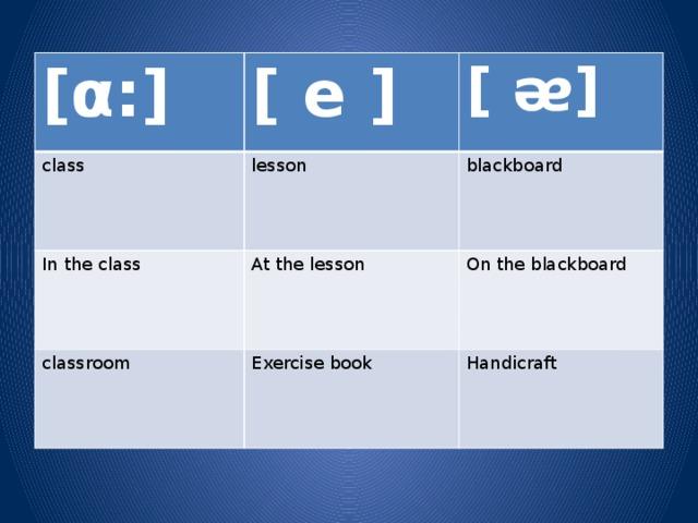 [α:] [ e ] class [ ᴂ] lesson In the class blackboard At the lesson classroom On the blackboard Exercise book Handicraft