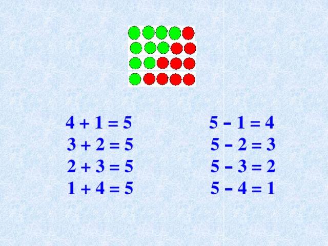 4 + 1 = 5 5 – 1 = 4  3 + 2 = 5 5 – 2 = 3  2 + 3 = 5 5 – 3 = 2  1 + 4 = 5 5 – 4 = 1