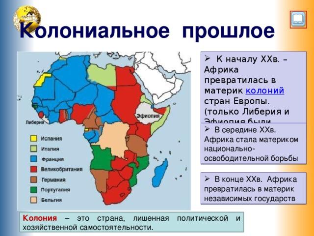 Колониальное прошлое  К началу XXв. – Африка превратилась в материк колоний стран Европы. (только Либерия и Эфиопия были свободными)  В середине XXв. Африка стала материком национально-освободительной борьбы Переход по управляющим кнопкам, щелкните по изображению «развернутая книга» – появится дополнительная текстовая информация, кликните по слову колоний – появится определение этого слова, текст исчезнет, если по нему кликнуть  В конце XXв. Африка превратилась в материк независимых государств Колония – это страна, лишенная политической и хозяйственной самостоятельности. 6