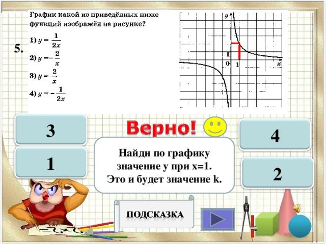 5.  3 4 Найди по графику значение у при х=1. Это и будет значение k . 1 2