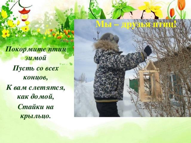 Мы – друзья птиц! Покормите птиц зимой Пусть со всех концов, К вам слетятся, как домой, Стайки на крыльцо.
