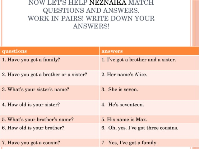 Now let's help Neznaika match questions and answers.  Work in pairs! Write down your answers! questions answers 1. Have you got a family? 1. I've got a brother and a sister.   2. Have you got a brother or a sister?   2. Her name's Alice.   3. What's your sister's name? 3. She is seven.   4. How old is your sister? 4. He's seventeen.   5. What's your brother's name? 5. His name is Max. 6. How old is your brother? 6. Oh, yes. I've got three cousins.   7. Have you got a cousin? 7. Yes, I've got a family.