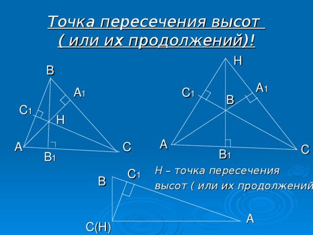 Точка пересечения высот  ( или их продолжений)! Н . В А 1 А 1 С 1 В С 1 Н А А С С В 1 В 1 Н – точка пересечения высот ( или их продолжений) С 1 В А С(Н)
