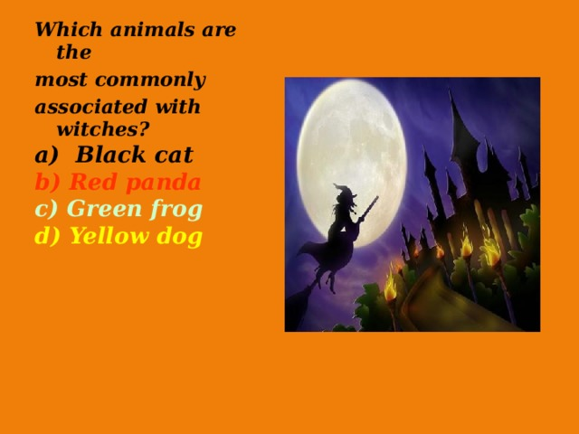 Which animals are the most commonly associated with witches? a) Black cat b) Red panda c) Green frog d) Yellow dog