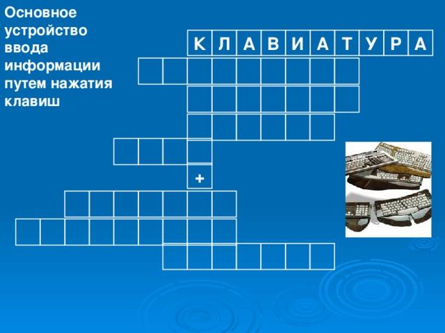 Основное устройство ввода информации путем нажатия клавиш Р У К А Л А В И А Т                   +