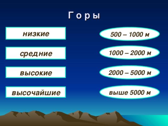 Г о р ы низкие 500 – 1000 м 1000 – 2000 м средние 2000 – 5000 м высокие выше 5000 м высочайшие