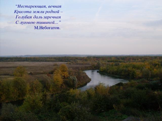 """"""" Н естареющая, вечная  Красота земли родной –  Голубая даль заречная  С луговою тишиной…""""  М.Небогатов."""