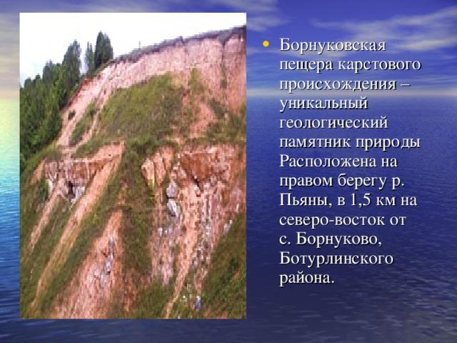Борнуковская пещера карстового происхождения – уникальный геологический памятник природы Расположена на правом берегу р. Пьяны, в 1,5 км на северо-восток от с.Борнуково, Ботурлинского района.