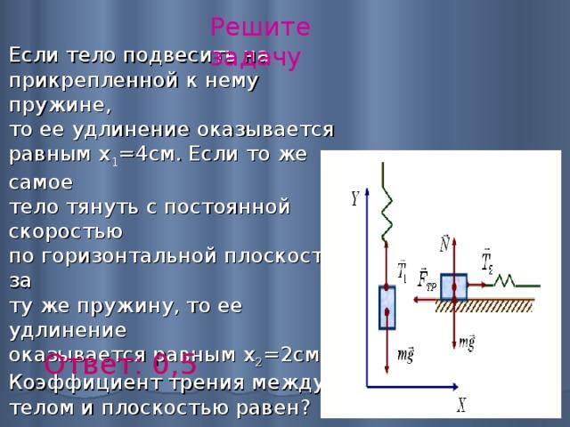 Решите задачу Если тело подвесить на  прикрепленной к нему пружине,  то ее удлинение оказывается  равным х 1 =4см. Если то же самое  тело тянуть с постоянной скоростью  по горизонтальной плоскости за  ту же пружину, то ее удлинение  оказывается равным х 2 =2см.  Коэффициент трения между  телом и плоскостью равен?   Ответ: 0,5