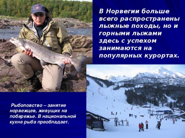 В Норвегии больше всего распространены лыжные походы, но и горными лыжами здесь с успехом занимаются на популярных курортах. Рыболовство – занятие норвежцев, живущих на побережье. В национальной кухне рыба преобладает.