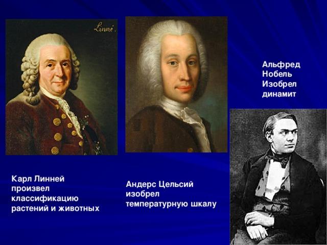 Альфред Нобель Изобрел динамит Карл Линней произвел классификацию растений и животных Андерс Цельсий изобрел температурную шкалу