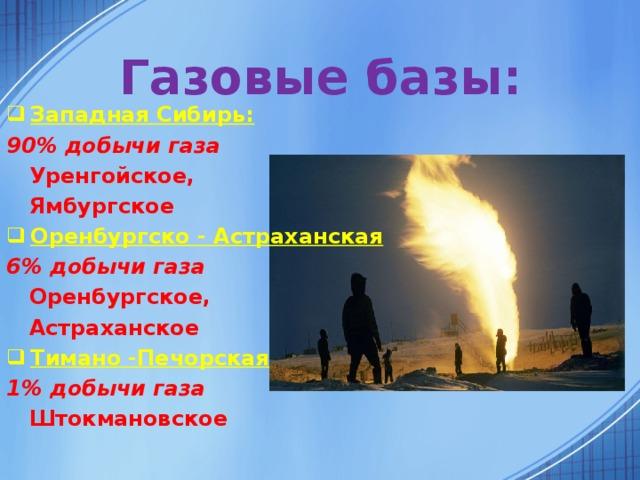 Газовые базы: Западная Сибирь: 90% добычи газа  Уренгойское,  Ямбургское Оренбургско - Астраханская 6% добычи газа  Оренбургское,  Астраханское Тимано -Печорская 1% добычи газа  Штокмановское
