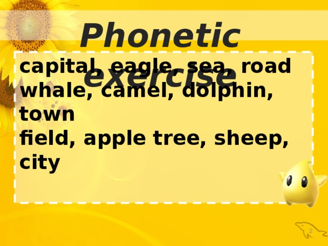 Phonetic exercise capital, eagle, sea, road whale, camel, dolphin, town field, apple tree, sheep, city