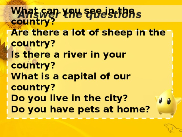 What can you see in the country? Are there a lot of sheep in the country? Is there a river in your country? What is a capital of our country? Do you live in the city? Do you have pets at home? : Answer the questions