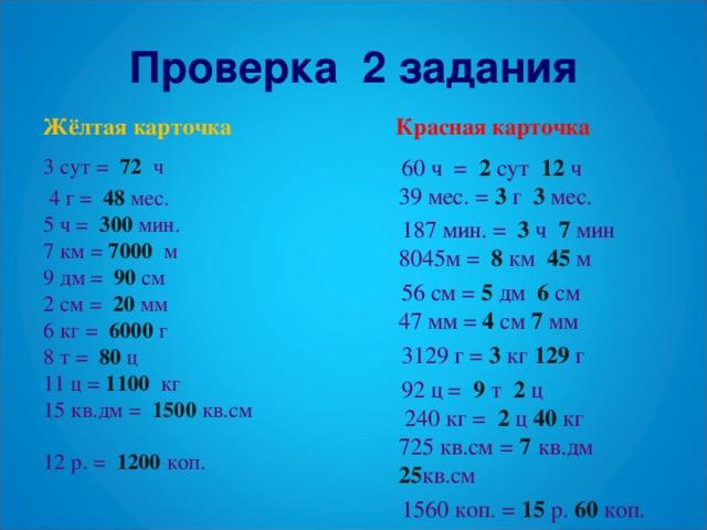 карточка Проверка 2 задания  Красная карточка Жёлтая карточка 3 сут = 72 ч  4 г = 48 мес.  60 ч = 2 сут 12 ч 39 мес. = 3 г 3 мес.  187 мин. = 3 ч 7 мин 8045м = 8 км 45 м  56 см = 5 дм 6 см 47 мм = 4 см 7 мм  3129 г = 3 кг 129 г  92 ц = 9 т 2 ц 240 кг = 2 ц 40 кг 725 кв.см  = 7  кв.дм 25 кв.см  1560 коп. = 15 р. 60 коп. 5 ч = 300 мин. 7 км = 7000 м 9 дм = 90 см 2 см = 20  мм 6 кг = 6000 г 8 т = 80 ц 11 ц = 1100 кг 15 кв.дм = 1500 кв.см 12 р. = 1200 коп.