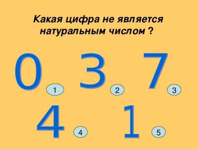 Какая цифра не является натуральным числом  ? 1 3 2 4 5