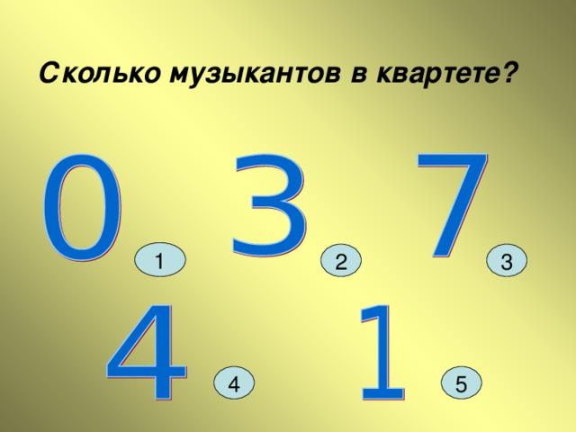 Сколько музыкантов в квартете? 1 3 2 4 5